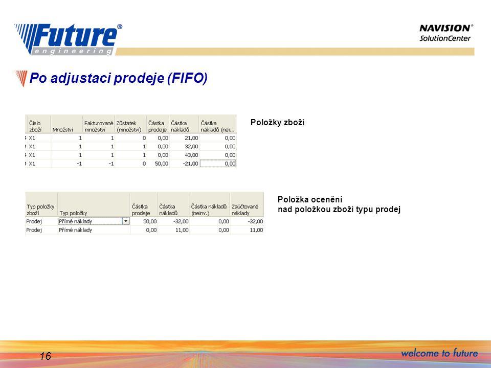 Po adjustaci prodeje (FIFO)