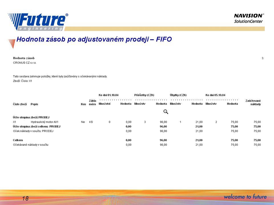 Hodnota zásob po adjustovaném prodeji – FIFO