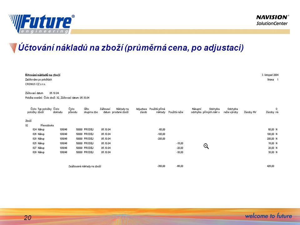 Účtování nákladů na zboží (průměrná cena, po adjustaci)