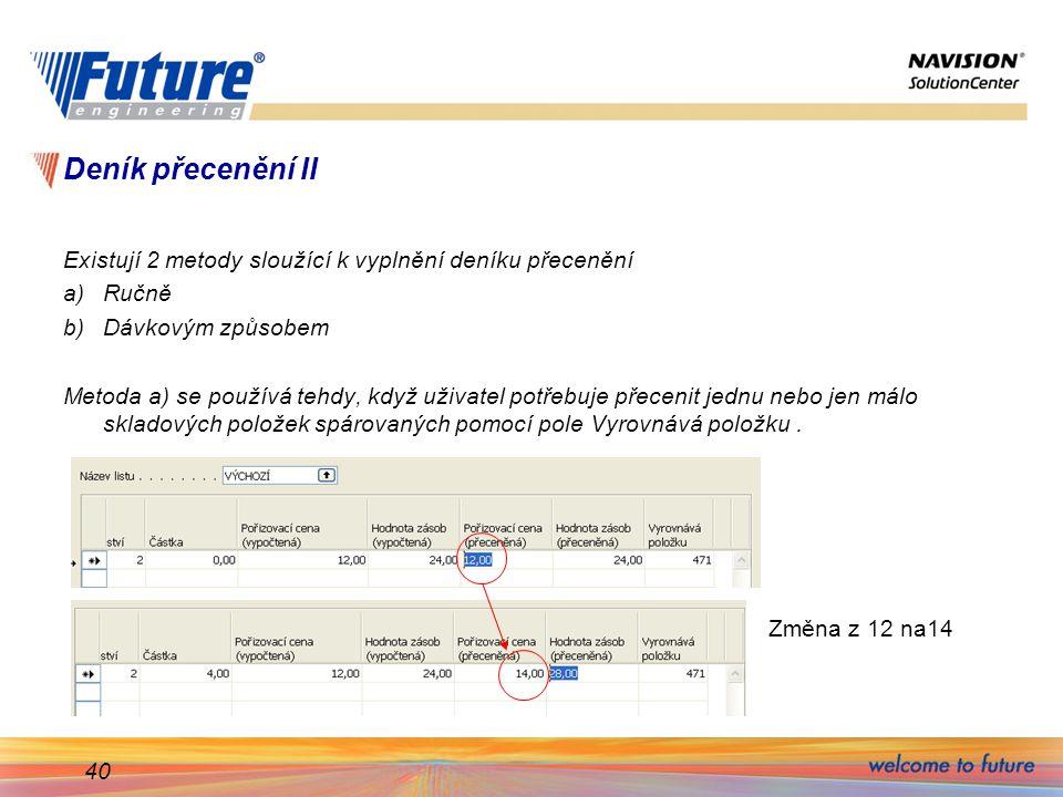 Deník přecenění II Existují 2 metody sloužící k vyplnění deníku přecenění. Ručně. Dávkovým způsobem.