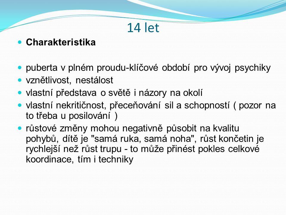 14 let Charakteristika. puberta v plném proudu-klíčové období pro vývoj psychiky. vznětlivost, nestálost.