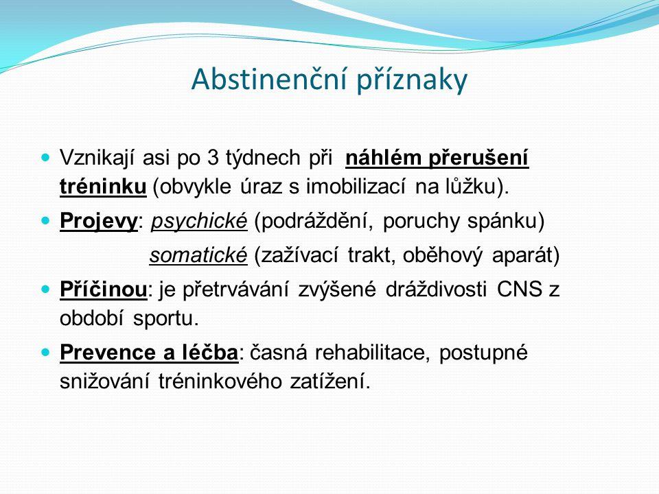 Abstinenční příznaky Vznikají asi po 3 týdnech při náhlém přerušení tréninku (obvykle úraz s imobilizací na lůžku).