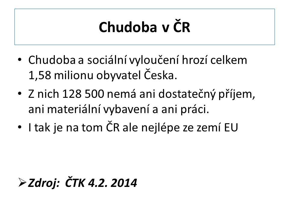 Chudoba v ČR Chudoba a sociální vyloučení hrozí celkem 1,58 milionu obyvatel Česka.