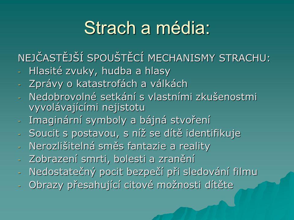 Strach a média: NEJČASTĚJŠÍ SPOUŠTĚCÍ MECHANISMY STRACHU: