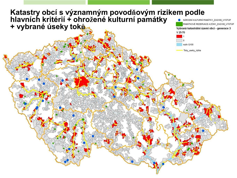 Katastry obcí s významným povodňovým rizikem podle hlavních kritérií + ohrožené kulturní památky