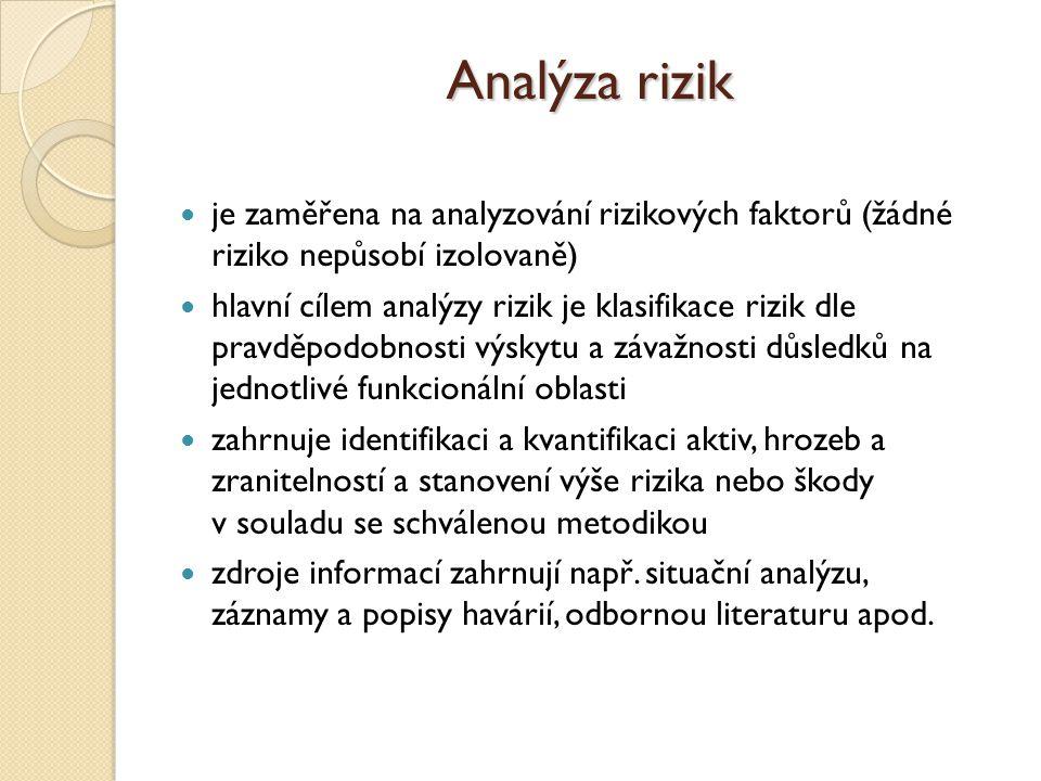 Analýza rizik je zaměřena na analyzování rizikových faktorů (žádné riziko nepůsobí izolovaně)
