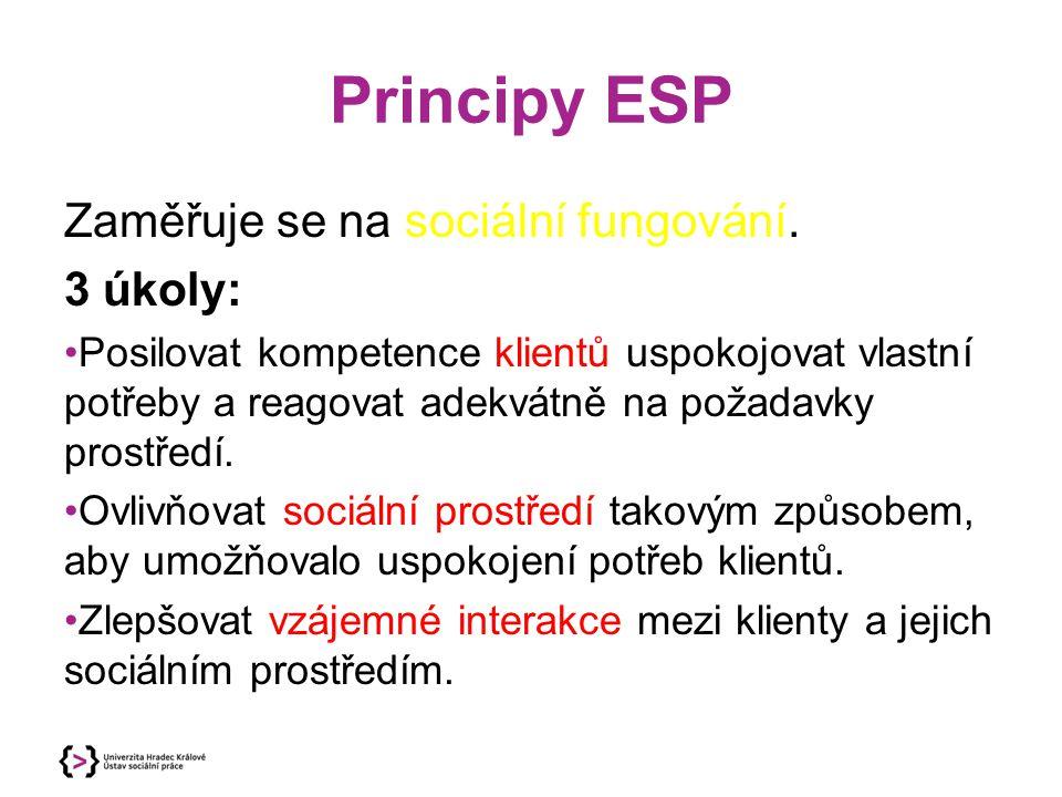 Principy ESP Zaměřuje se na sociální fungování. 3 úkoly:
