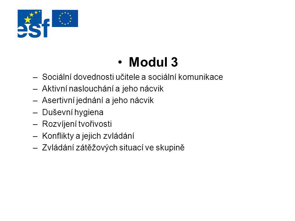 Modul 3 Sociální dovednosti učitele a sociální komunikace