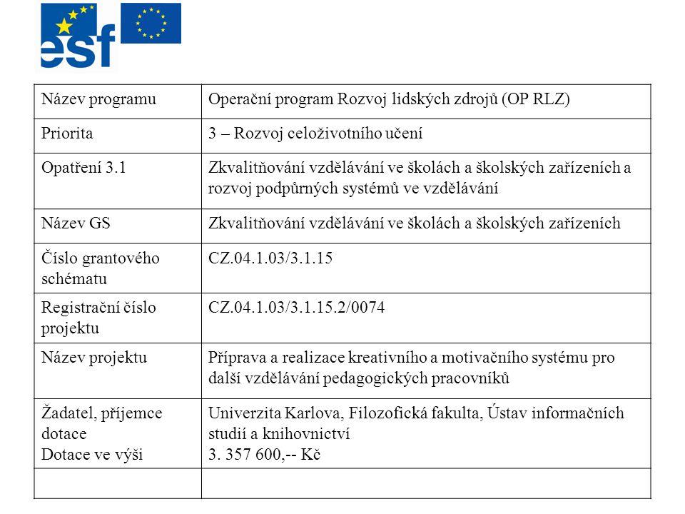 Název programu Operační program Rozvoj lidských zdrojů (OP RLZ) Priorita. 3 – Rozvoj celoživotního učení.