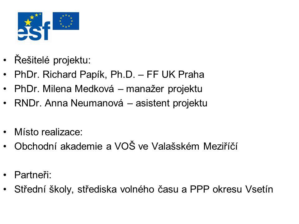 Řešitelé projektu: PhDr. Richard Papík, Ph.D. – FF UK Praha. PhDr. Milena Medková – manažer projektu.