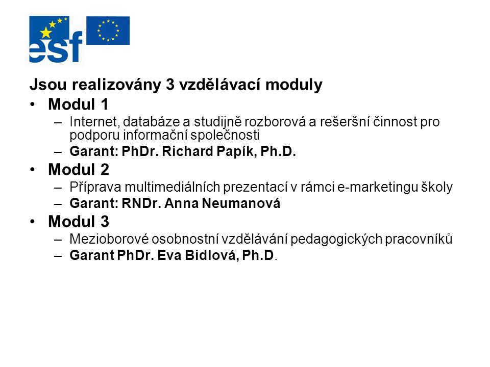 Jsou realizovány 3 vzdělávací moduly Modul 1