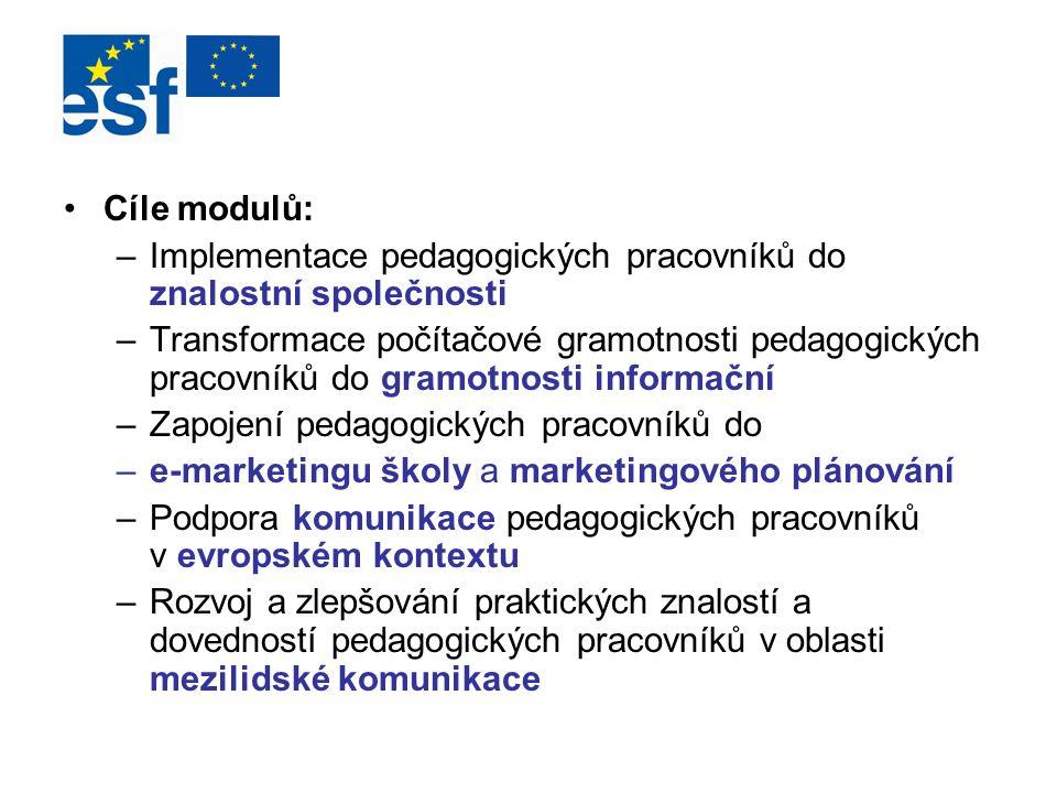 Cíle modulů: Implementace pedagogických pracovníků do znalostní společnosti.