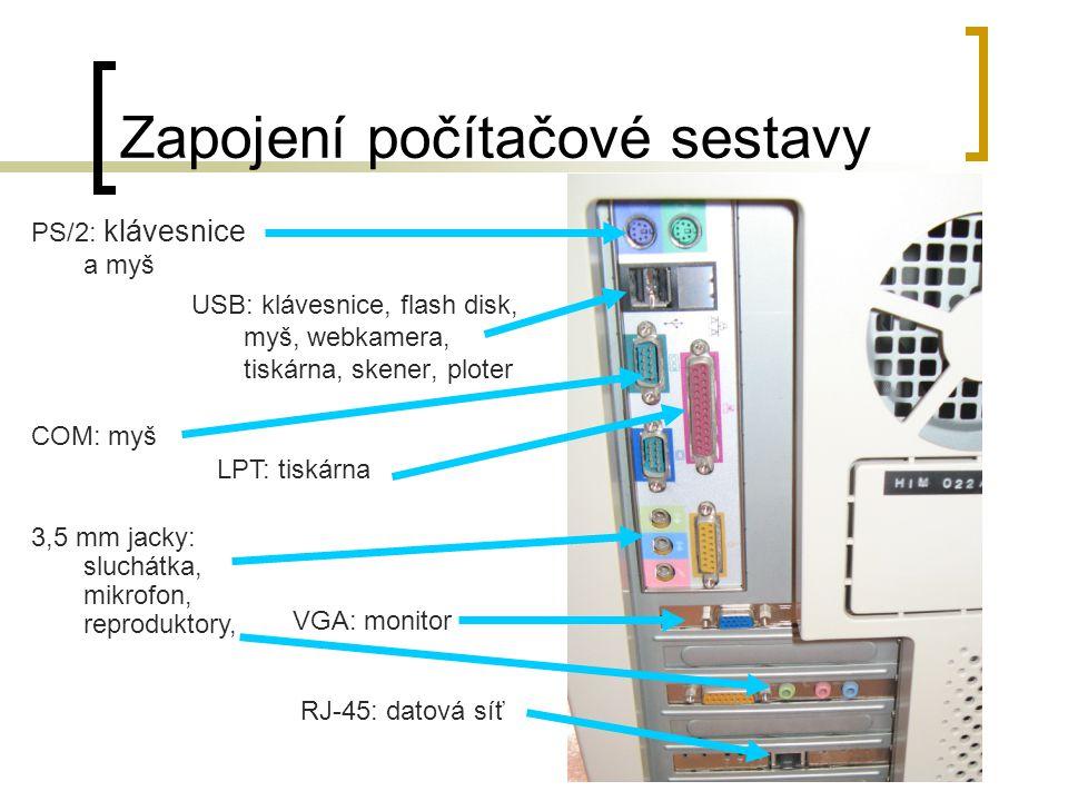 Zapojení počítačové sestavy