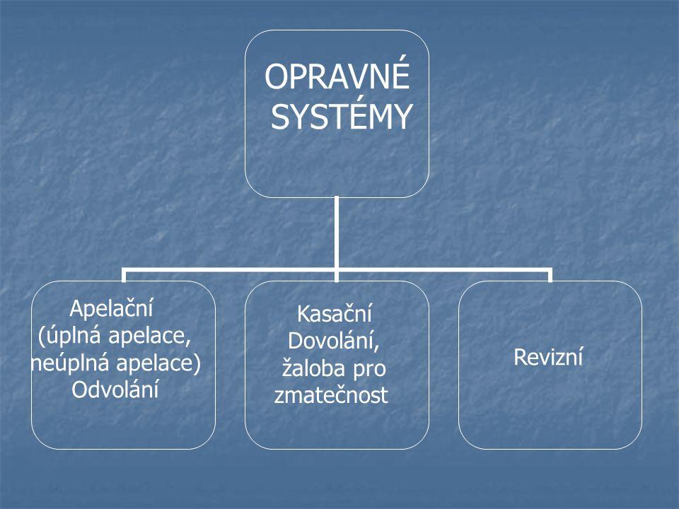 OPRAVNÉ SYSTÉMY Apelační Kasační (úplná apelace, Dovolání,