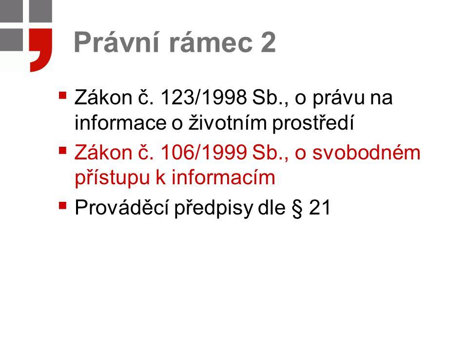 Právní rámec 2 Zákon č. 123/1998 Sb., o právu na informace o životním prostředí. Zákon č. 106/1999 Sb., o svobodném přístupu k informacím.