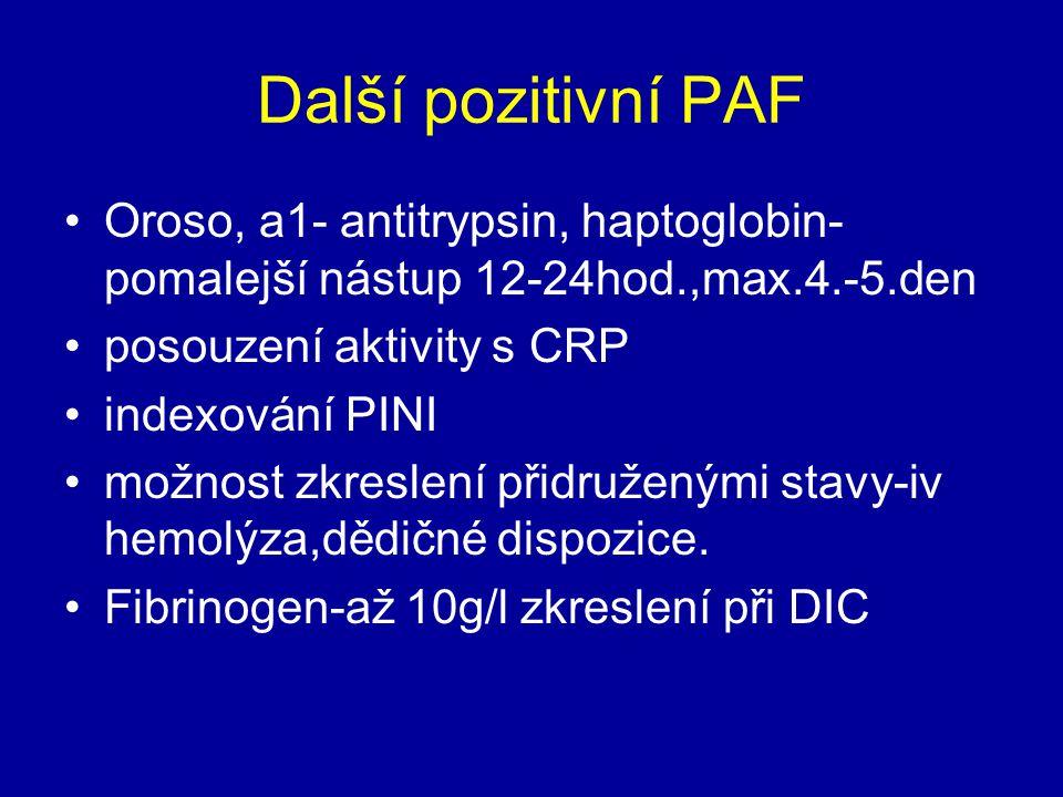 Další pozitivní PAF Oroso, a1- antitrypsin, haptoglobin- pomalejší nástup 12-24hod.,max.4.-5.den. posouzení aktivity s CRP.