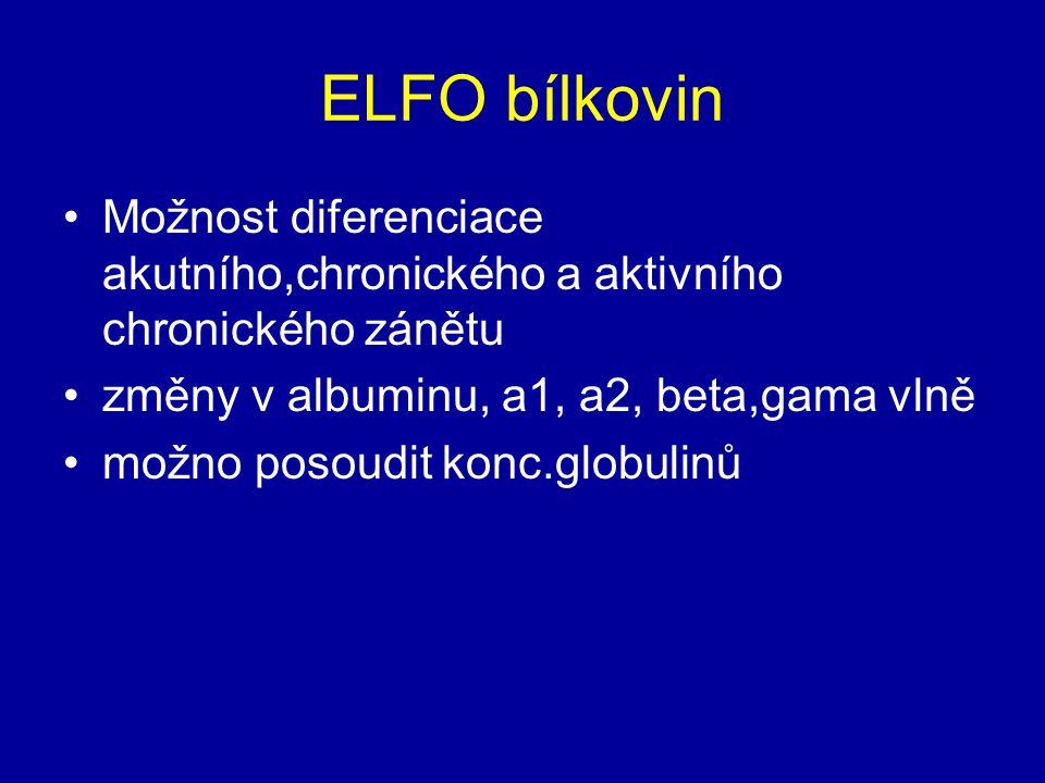 ELFO bílkovin Možnost diferenciace akutního,chronického a aktivního chronického zánětu. změny v albuminu, a1, a2, beta,gama vlně.