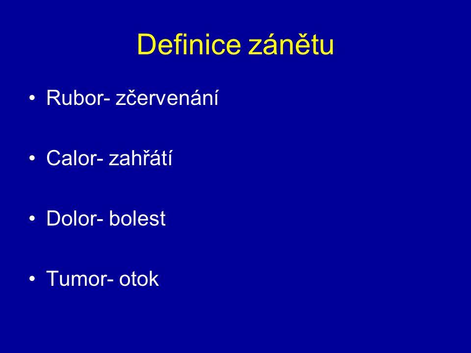 Definice zánětu Rubor- zčervenání Calor- zahřátí Dolor- bolest