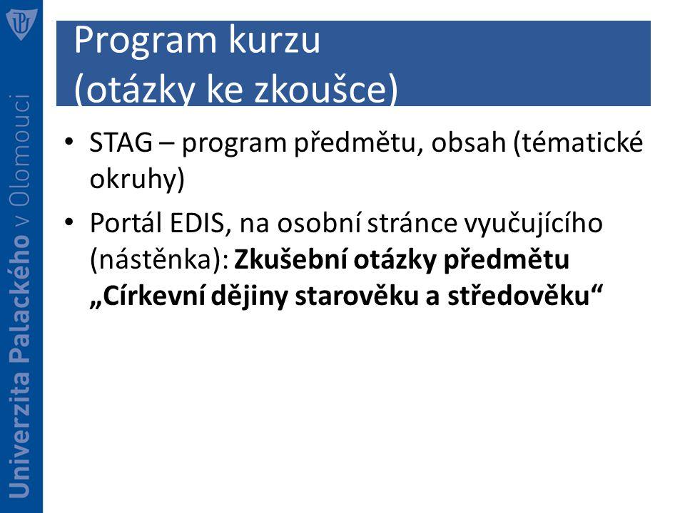 Program kurzu (otázky ke zkoušce)