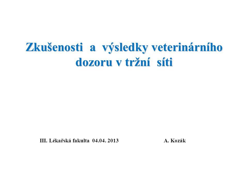 Zkušenosti a výsledky veterinárního dozoru v tržní síti