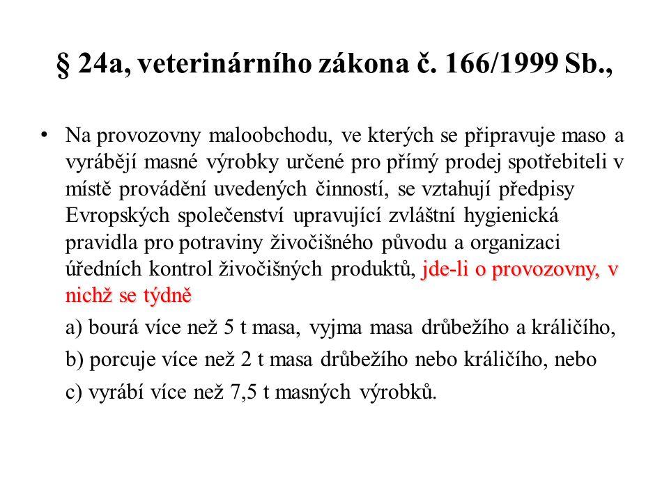 § 24a, veterinárního zákona č. 166/1999 Sb.,