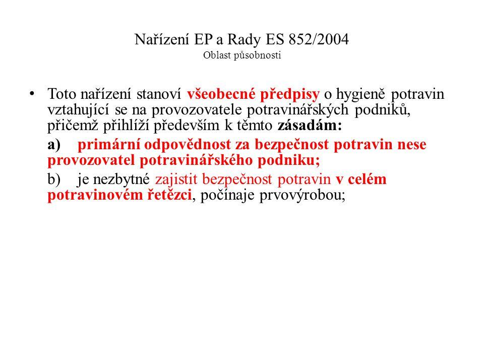 Nařízení EP a Rady ES 852/2004 Oblast působnosti