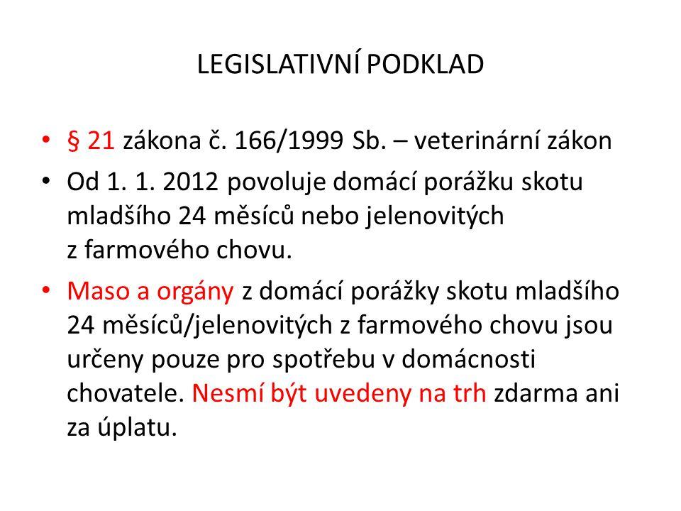 LEGISLATIVNÍ PODKLAD § 21 zákona č. 166/1999 Sb. – veterinární zákon