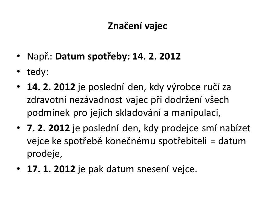 Značení vajec Např.: Datum spotřeby: 14. 2. 2012. tedy: