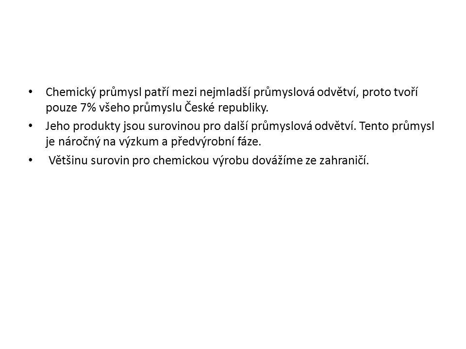 Chemický průmysl patří mezi nejmladší průmyslová odvětví, proto tvoří pouze 7% všeho průmyslu České republiky.