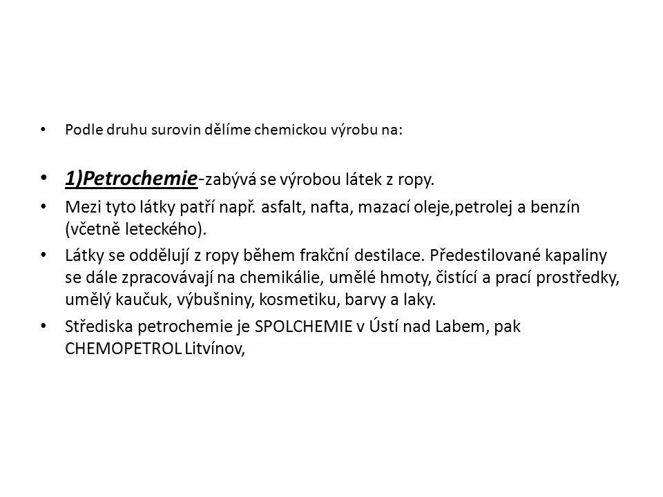 1)Petrochemie-zabývá se výrobou látek z ropy.