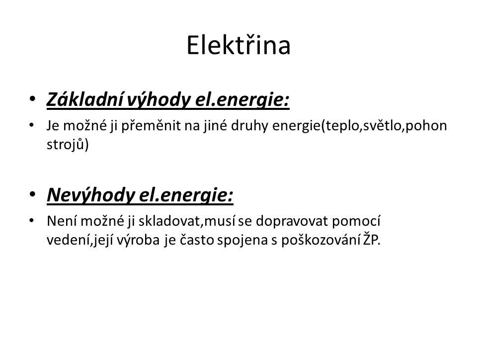 Elektřina Základní výhody el.energie: Nevýhody el.energie: