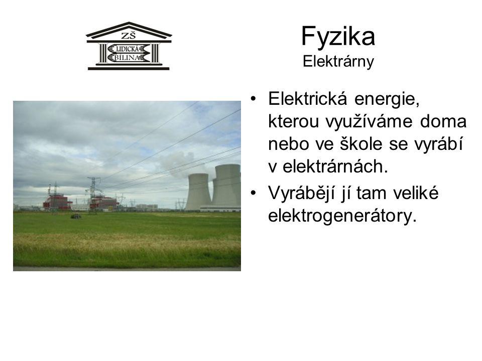 Fyzika Elektrárny Elektrická energie, kterou využíváme doma nebo ve škole se vyrábí v elektrárnách.