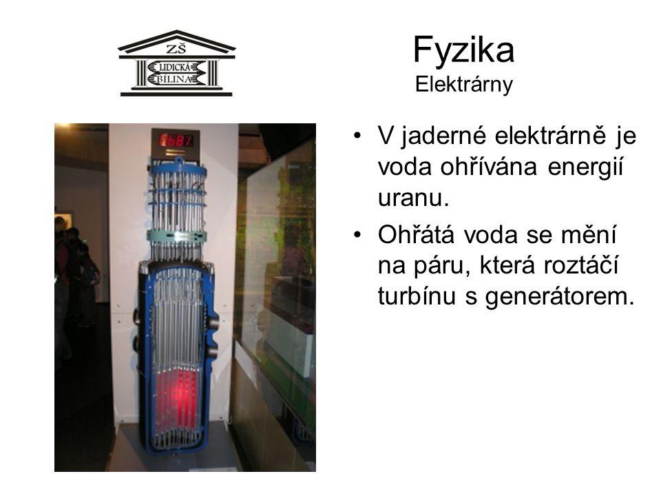 Fyzika Elektrárny V jaderné elektrárně je voda ohřívána energií uranu.