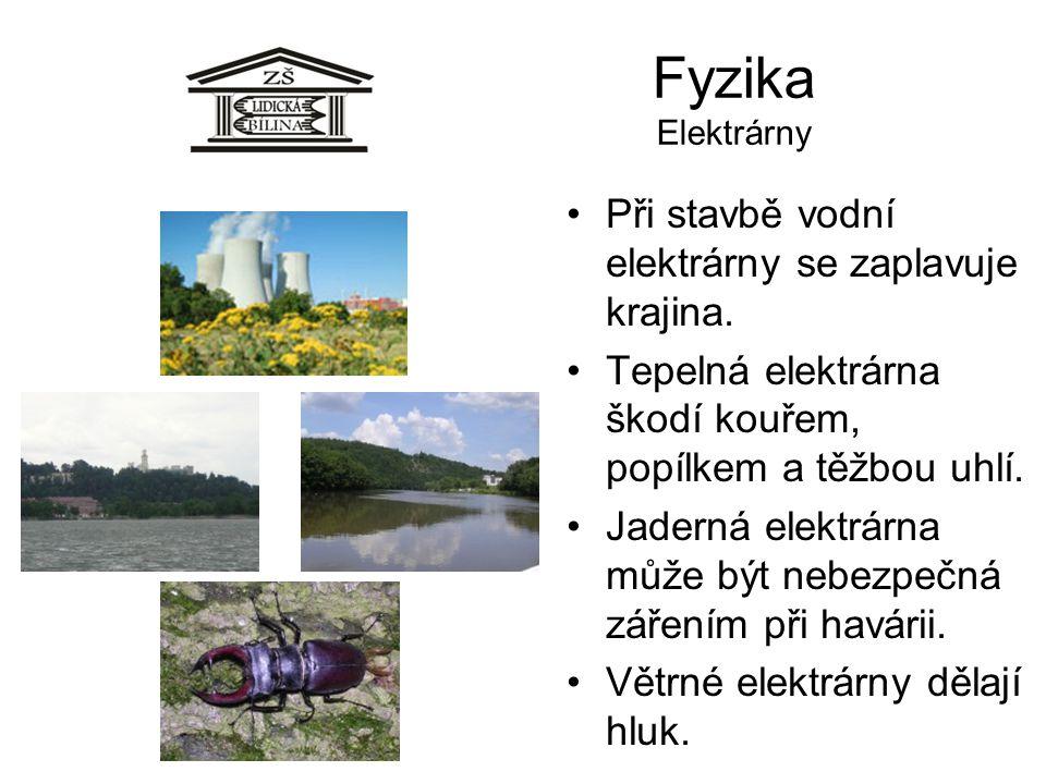 Fyzika Elektrárny Při stavbě vodní elektrárny se zaplavuje krajina.