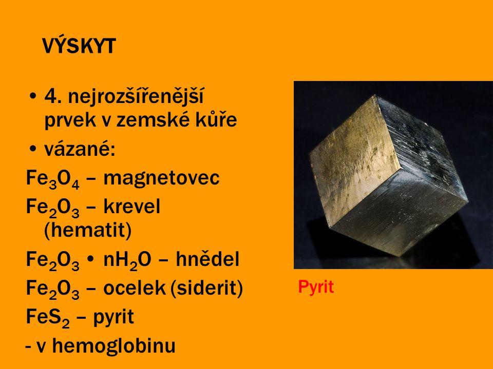4. nejrozšířenější prvek v zemské kůře vázané: Fe3O4 – magnetovec