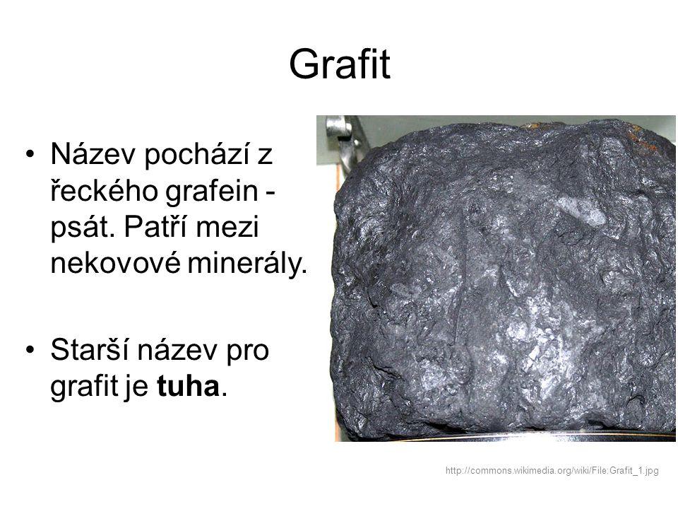Grafit Název pochází z řeckého grafein - psát. Patří mezi nekovové minerály. Starší název pro grafit je tuha.