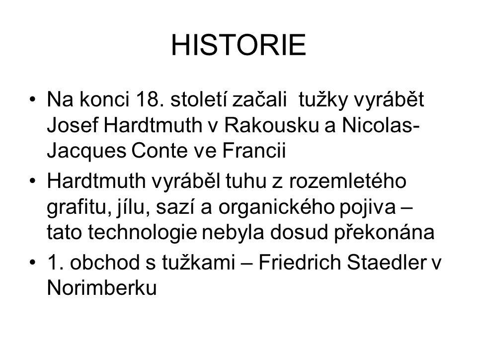 HISTORIE Na konci 18. století začali tužky vyrábět Josef Hardtmuth v Rakousku a Nicolas-Jacques Conte ve Francii.