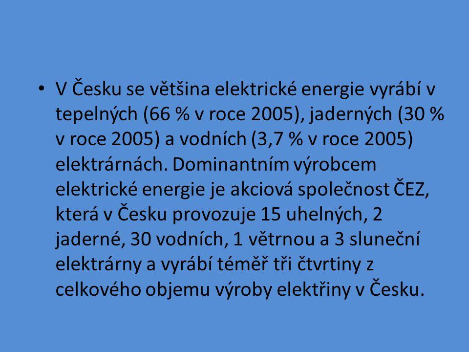 V Česku se většina elektrické energie vyrábí v tepelných (66 % v roce 2005), jaderných (30 % v roce 2005) a vodních (3,7 % v roce 2005) elektrárnách.