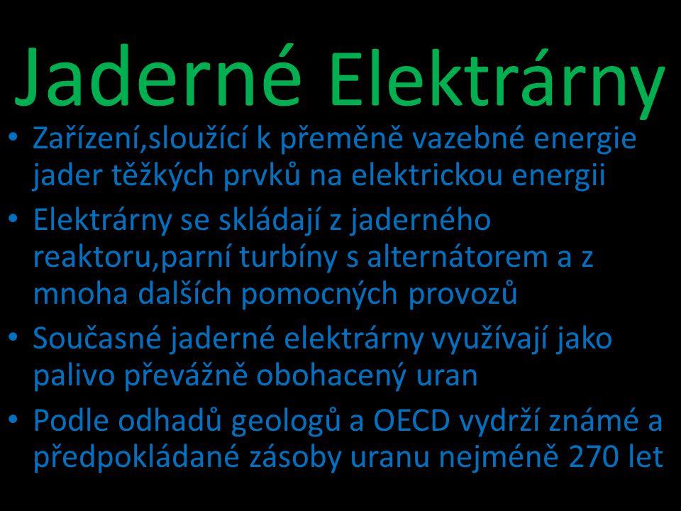 Jaderné Elektrárny Zařízení,sloužící k přeměně vazebné energie jader těžkých prvků na elektrickou energii.