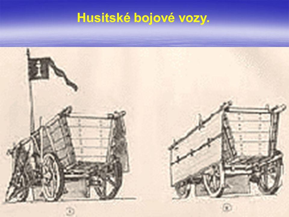Husitské bojové vozy.