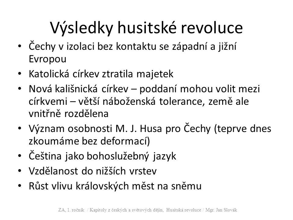 Výsledky husitské revoluce