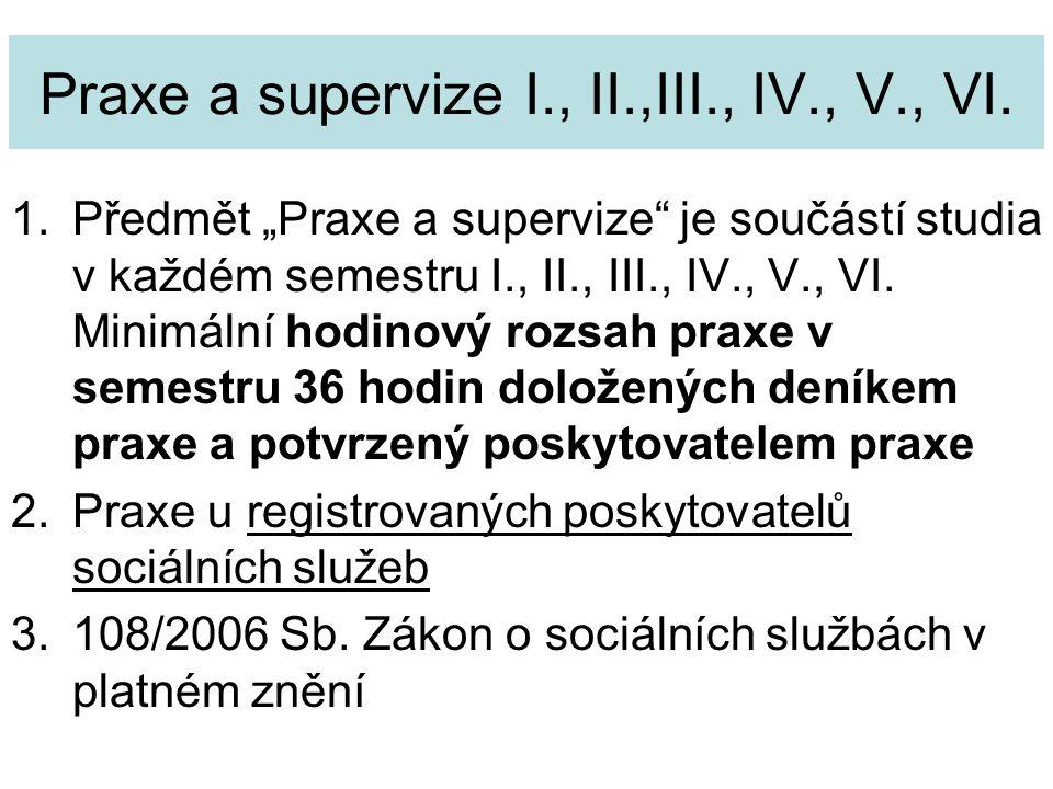 Praxe a supervize I., II.,III., IV., V., VI.