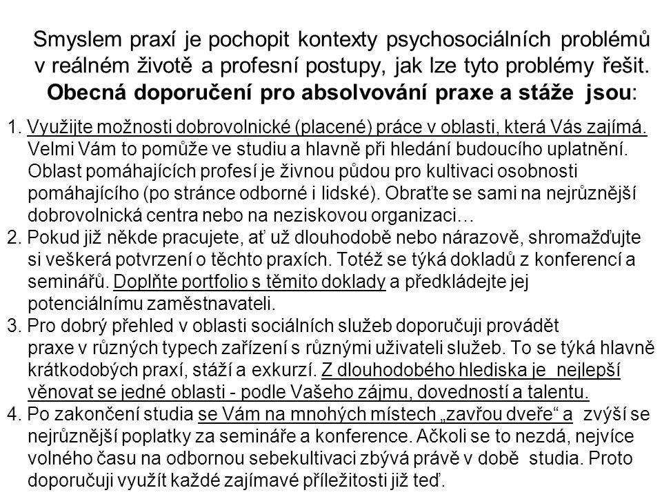 Smyslem praxí je pochopit kontexty psychosociálních problémů v reálném životě a profesní postupy, jak lze tyto problémy řešit. Obecná doporučení pro absolvování praxe a stáže jsou:
