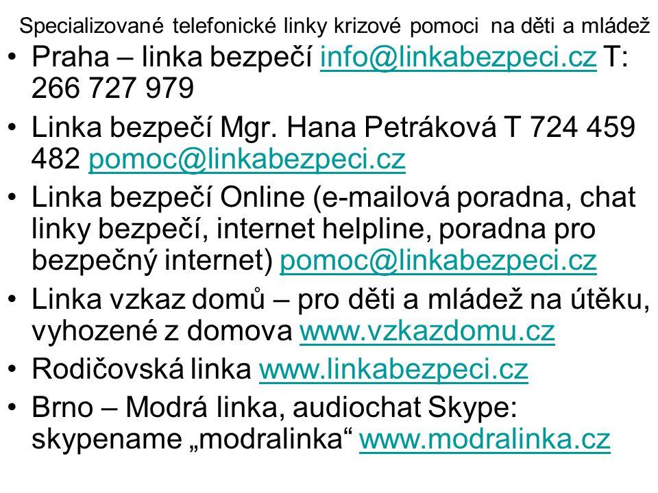 Specializované telefonické linky krizové pomoci na děti a mládež