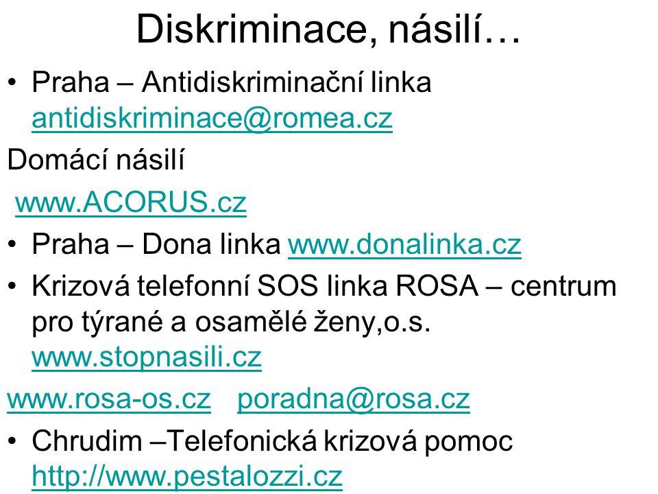 Diskriminace, násilí… Praha – Antidiskriminační linka antidiskriminace@romea.cz. Domácí násilí. www.ACORUS.cz.