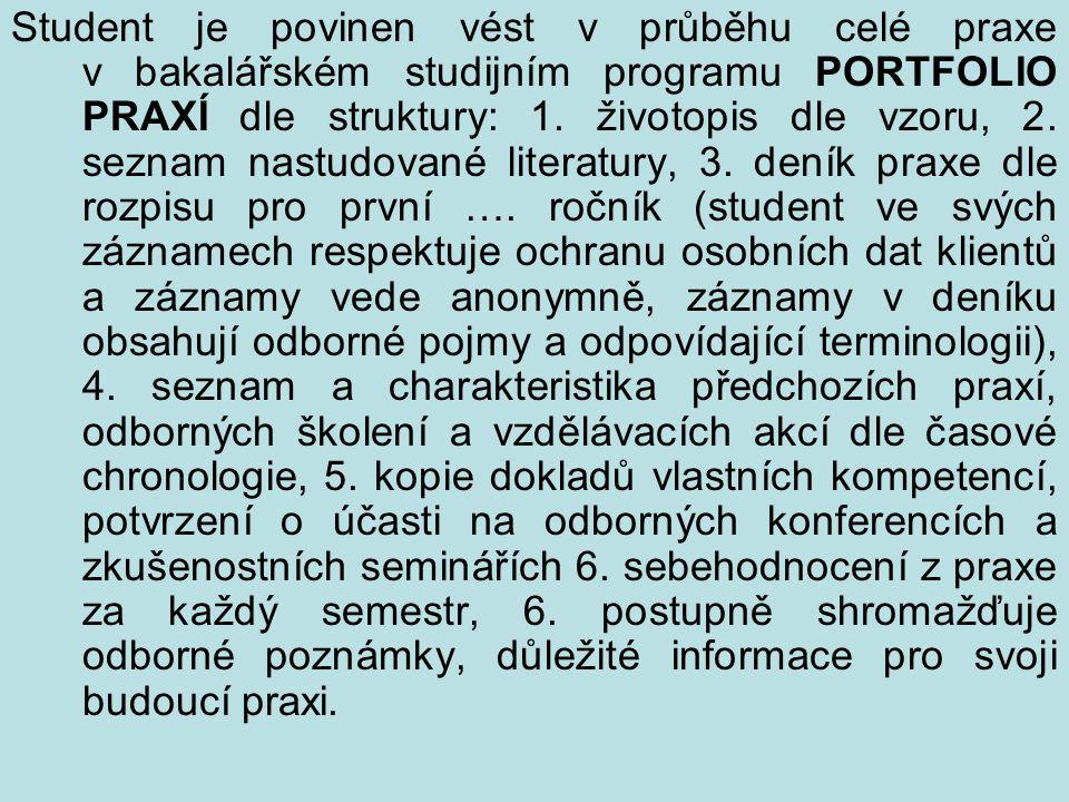Student je povinen vést v průběhu celé praxe v bakalářském studijním programu PORTFOLIO PRAXÍ dle struktury: 1.