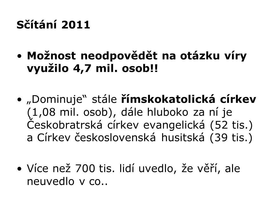 Sčítání 2011 Možnost neodpovědět na otázku víry využilo 4,7 mil. osob!!