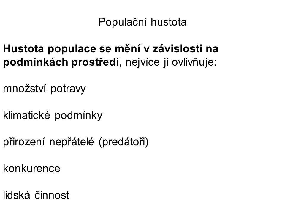 Populační hustota Hustota populace se mění v závislosti na podmínkách prostředí, nejvíce ji ovlivňuje: