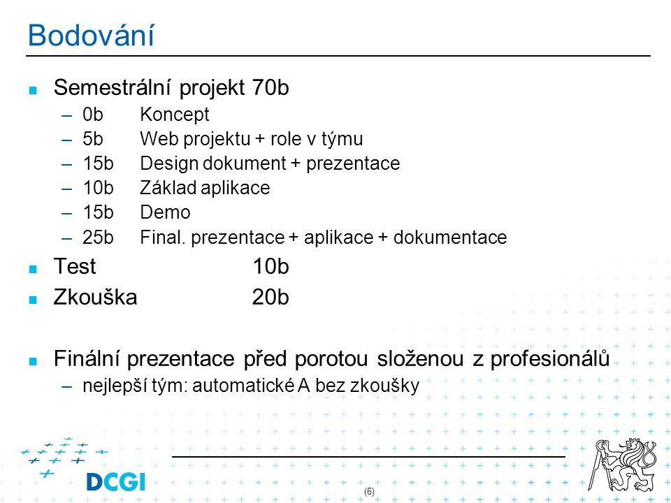 Bodování Semestrální projekt 70b Test 10b Zkouška 20b