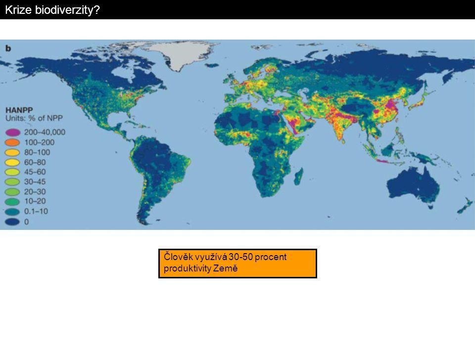 Krize biodiverzity Člověk využívá 30-50 procent produktivity Země